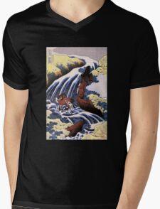 'Waterfall and Horse Washing' by Katsushika Hokusai (Reproduction) Mens V-Neck T-Shirt