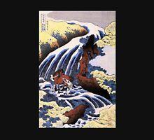 'Waterfall and Horse Washing' by Katsushika Hokusai (Reproduction) T-Shirt