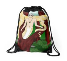 Albino Naga in a tree. Drawstring Bag