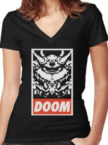 DOOM (OBEY Parody) - Black Shirt Version Women's Fitted V-Neck T-Shirt