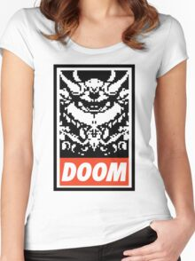 DOOM (OBEY Parody) - White Shirt Version Women's Fitted Scoop T-Shirt