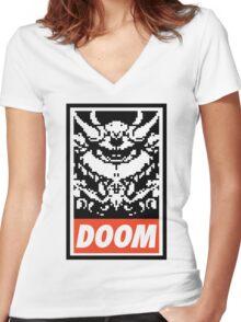 DOOM (OBEY Parody) - White Shirt Version Women's Fitted V-Neck T-Shirt