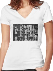Facial Display Women's Fitted V-Neck T-Shirt