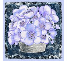 Basket With Blue Flowers Photographic Print