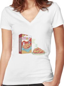 rick and morty eyeholes Women's Fitted V-Neck T-Shirt
