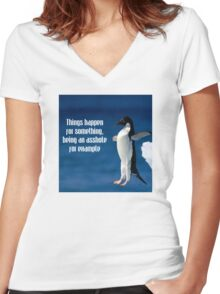 Wise penguin Women's Fitted V-Neck T-Shirt