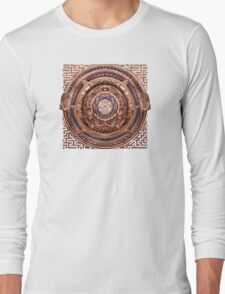 Aztec Time Travel Pendant Medallion Long Sleeve T-Shirt