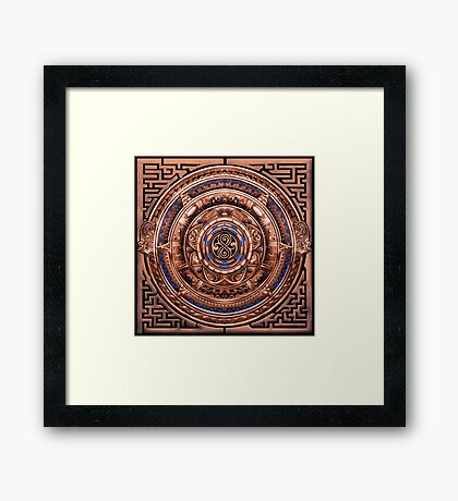 Aztec Time Travel Pendant Medallion Framed Print