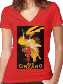 Vintage poster - Asti Cinzano Women's Fitted V-Neck T-Shirt
