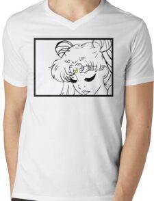 Princess Serenity Black and White Mens V-Neck T-Shirt