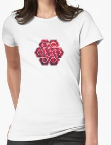 Abstract Color Pattern in Red Womens Fitted T-Shirt