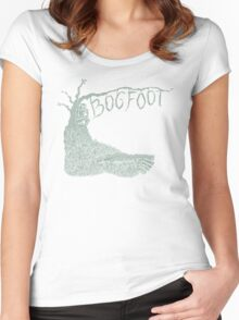 Bogfoot Swamp Thing Woodcut Women's Fitted Scoop T-Shirt