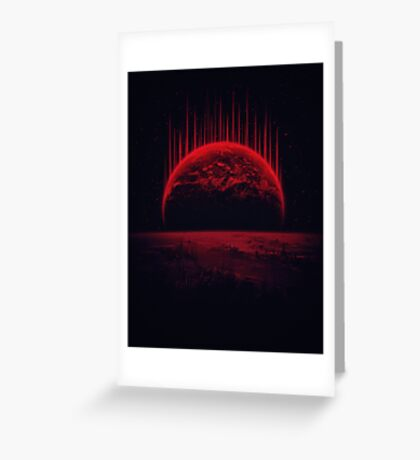 Lost Home! Colosal Future Sci-Fi Deep Space Scene in diabolic Red Greeting Card