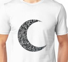 Floral Design Crescent Moon Unisex T-Shirt