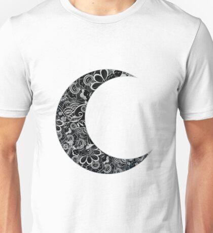 Floral Design Crescent Moon Unisex T-Shirt