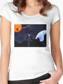 Lightsaber fight Women's Fitted Scoop T-Shirt