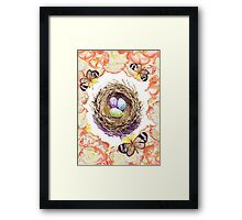 Bird Nest Roses And Butterflies Framed Print