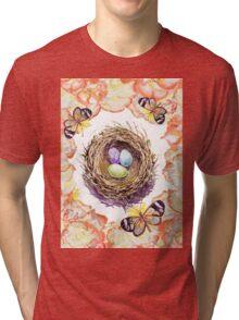 Bird Nest Roses And Butterflies Tri-blend T-Shirt
