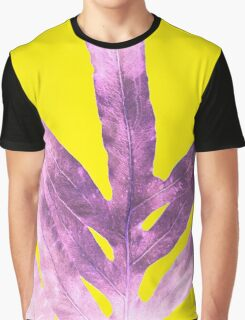 Green Fern on Bright Yellow Inverted Graphic T-Shirt
