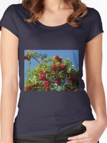 Red Rowan Berries against a Bright Blue Sky Women's Fitted Scoop T-Shirt