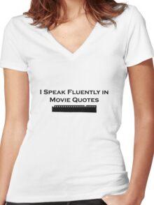 I Speak Fluently in Movie Quotes (Black) Women's Fitted V-Neck T-Shirt