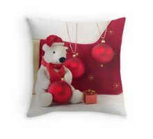 White Teddy Bear  with red Christmas Baubles  Throw Pillow
