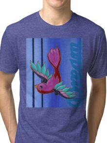 Bird on Blue Tri-blend T-Shirt