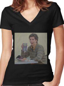 michael cera Women's Fitted V-Neck T-Shirt
