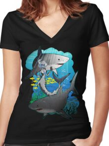 GreatWhites Women's Fitted V-Neck T-Shirt