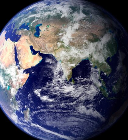 View of the Earth from space showing the eastern hemisphere. Sticker