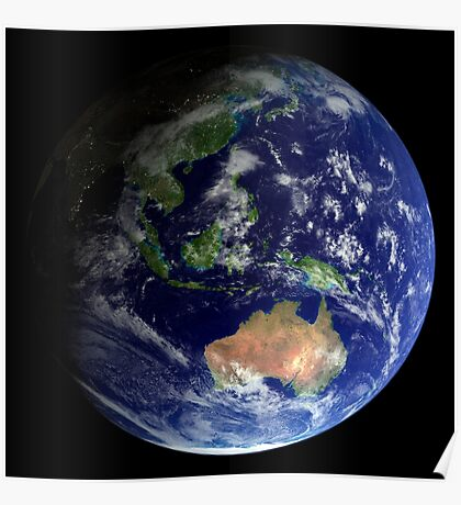 Full Earth from space showing Australia Poster