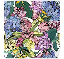 Bright spring pattern with tulips and hydrangea Poster