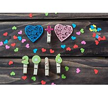 Valentines hearts and numbers on wooden background Photographic Print