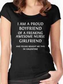 Proud Boyfriend Of Awesome Nurse Girlfriend Women's Fitted Scoop T-Shirt