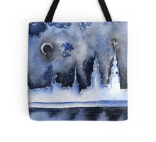Winter night in the old town Tote Bag
