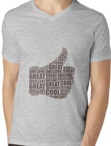 Thumbs Up - Brown Mens V-Neck T-Shirt