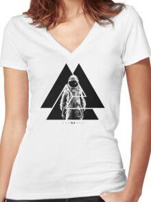 RL9 Space Astronaut (Black&White) Women's Fitted V-Neck T-Shirt