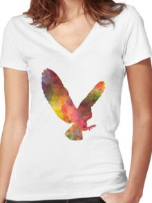 Barn Owl 02 in watercolor Women's Fitted V-Neck T-Shirt