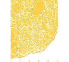Lisbon map yellow Photographic Print