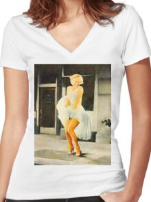 Marilyn Monroe by Frank Falcon Women's Fitted V-Neck T-Shirt