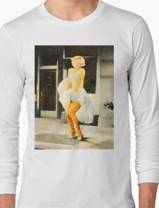 Marilyn Monroe by Frank Falcon Long Sleeve T-Shirt