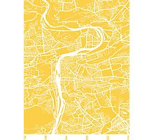 Prague map yellow Photographic Print