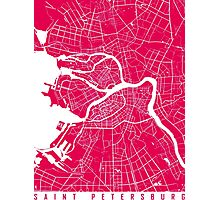 Saint Petersburg map raspberry Photographic Print