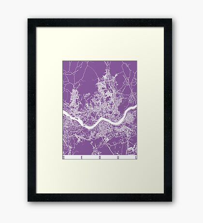 Seoul map lilac Framed Print