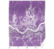 Seoul map lilac Poster