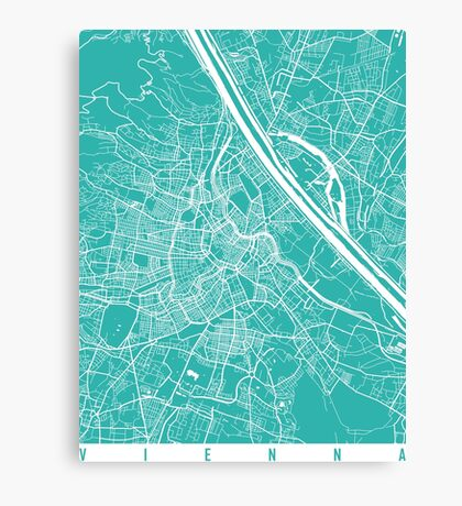 Vienna map turquoise Canvas Print