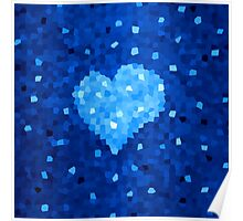 Winter Blue Crystallized Abstract Heart Poster