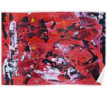 Red on Black - Big Original Wall Modern Abstract Art Painting Poster