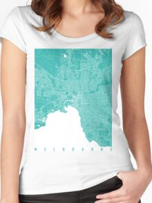 Melbourne map turquoise Women's Fitted Scoop T-Shirt