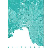 Melbourne map turquoise Photographic Print